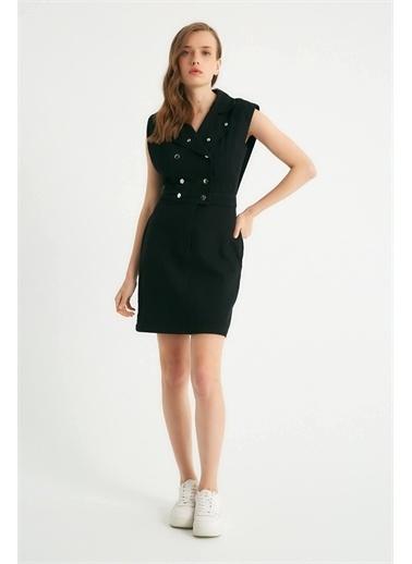 Robin Robin Çıt Çıt Detaylı Cepli Jean Elbise Siyah Siyah